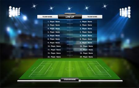 Terrain de jeu de football ou de soccer avec ensemble d'éléments infographiques. Jeu de sport. Coupe du sport. Illustration vectorielle.