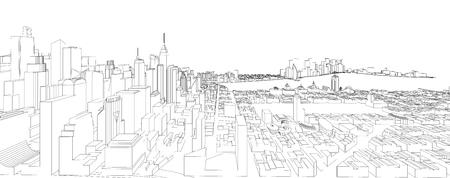 Cityscape Sketch, Vector Sketch. Architecture . Иллюстрация