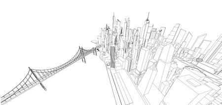 Estructura metálica 3d del edificio. diseño de boceto Vector