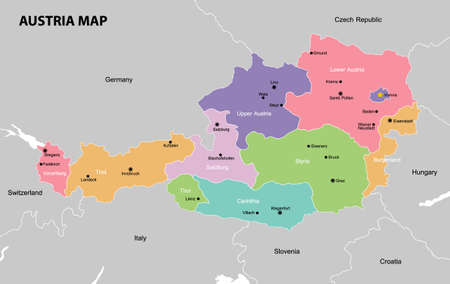 Highly detailed political Austria map