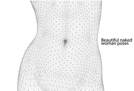 Bella donna pone. Corpo femminile. vettore wireframe 3D.