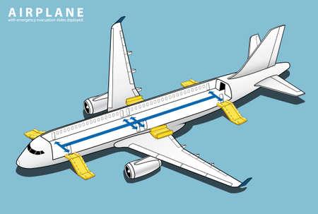 Diapositiva isométrica del aeroplano del accidente del avión. Rescate de ventanas de Airbus. Deslizamiento de toboganes de evacuación de emergencia. Vector de ilustración de avión 3d Ilustración de vector