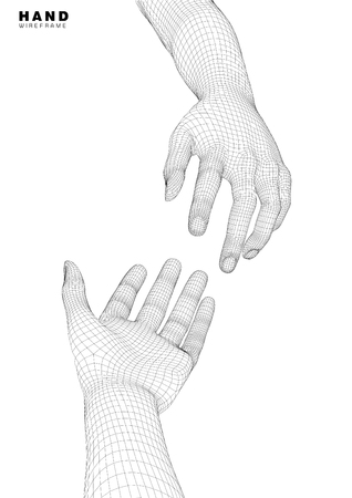 A computer generated rendering hand.