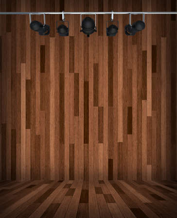 room interior vintage with wood tiles