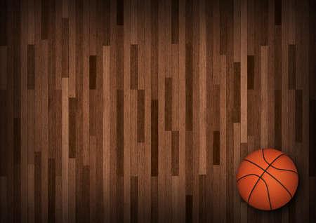 Basketball on Court. 3d render