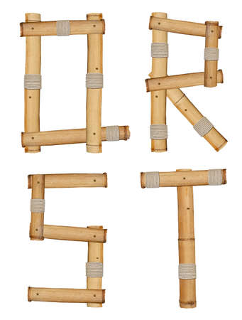 Letters of bamboo alphabet isolated on white