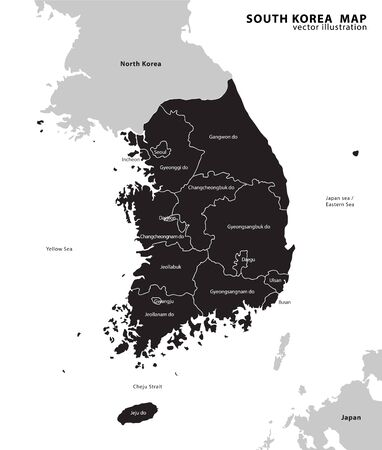 south korea administrative map. vector illustration.
