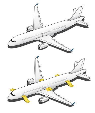 Isometric Plane Airplane Slide. Plane 3d Illustration Vector.