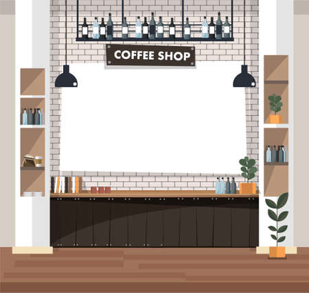 Empty cafe interior with bar stand,table and armchairs. Coffeehouse, coffee shop or cafe. Flat design vector illustration Vector Illustratie