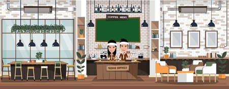 Empty cafe interior with bar stand,table and armchairs. Coffeehouse, coffee shop or cafe. Flat design vector illustration