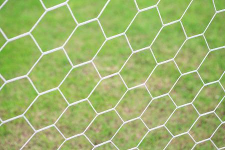 Mesh football goal on a green grass background Stock Photo