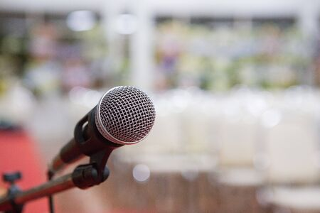 microphone in the seminar room blurred background