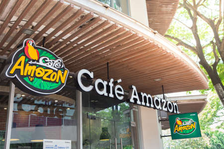 Bangkok Thailand , April 10 , 2018 : Amazon coffee shop with sunshine and natural background 에디토리얼