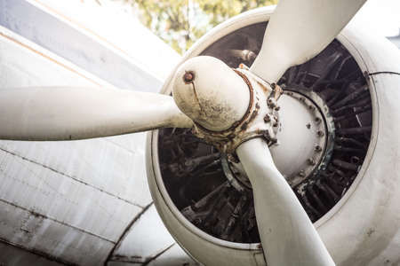 Propeller of old aircraft with sunlight