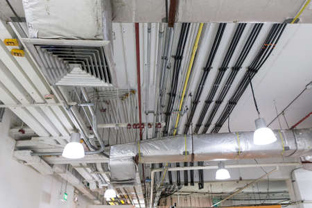 Pipes of air conditioning and ceiling electric system