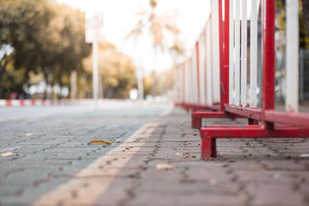 Selective focus of Barricade on the sidewalk with sunlight Reklamní fotografie