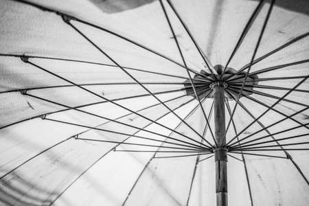 Close up of Black and white Under the umbrella texture background