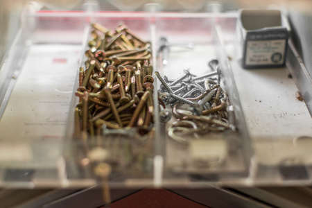 Many screws in the toolbox container Stok Fotoğraf