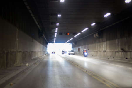 Blurred of Traffic in the intersection tunnel 스톡 콘텐츠