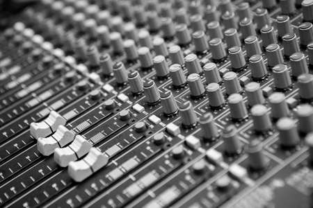Selective focus of Black and white Mixer board texture background