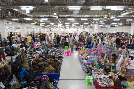 Bangkok Thailand , August 15 , 2020 : Bustling flea markets, shops and people are very popular in Thailand