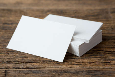 Stack of Business card on wood background and copy space 免版税图像