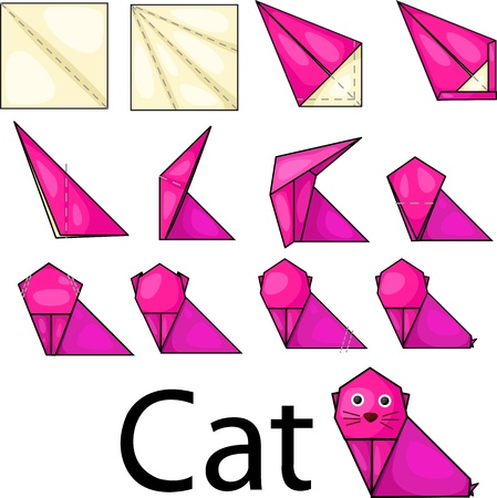 Illustrator of origami with cat