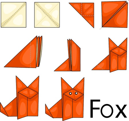 paper origami: Illustrator of origami with fox Illustration