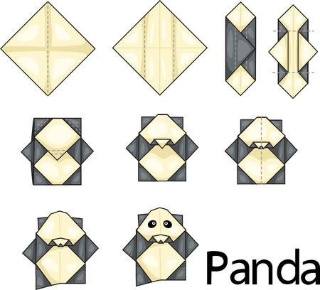 Illustrator of origami with panda Ilustração