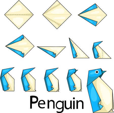 Illustrator of origami with penguins Vector