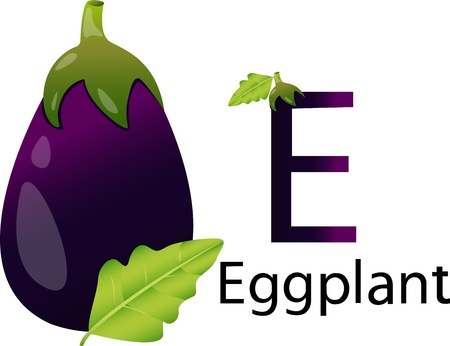 font e with eggplant photo