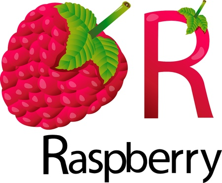 font r with raspberry Stock Photo