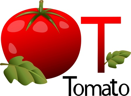 abstract art vegetables: font t with tomato
