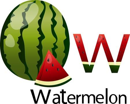 font w with watermelon