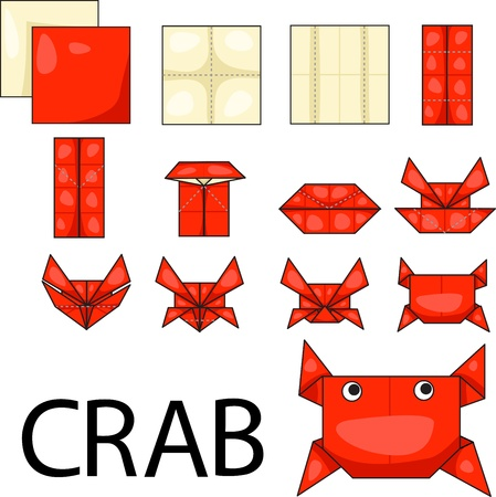 Illustrator of crab origami Vector