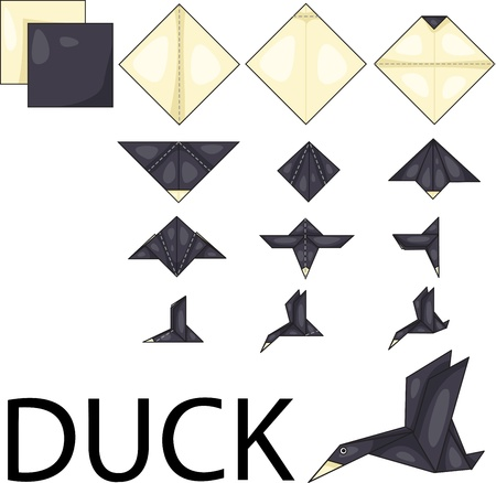Illustrator of duck origami Illustration