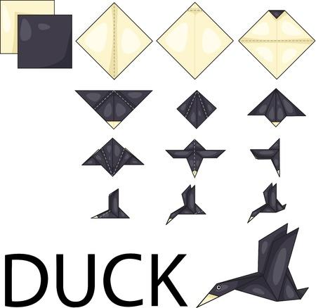 Illustrator of duck origami Ilustração