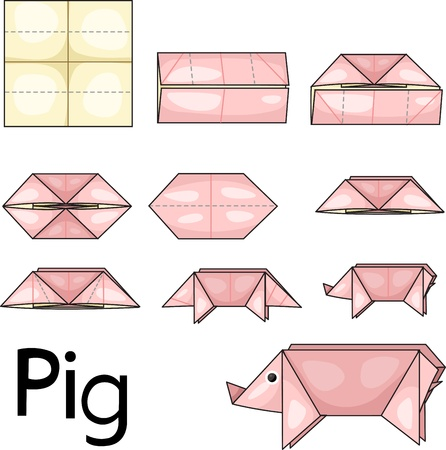Illustrator of pig origami Stock Vector - 20860777