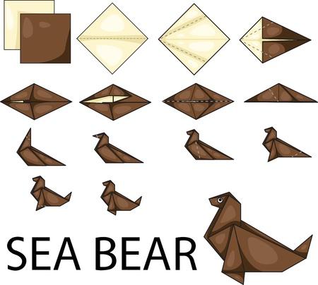 Illustrator of sea bear origami