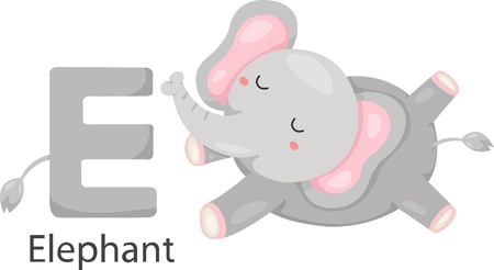 baby elephant: Illustrator of E with elephant