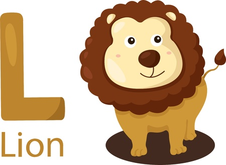 Illustrator of L with lion Vector