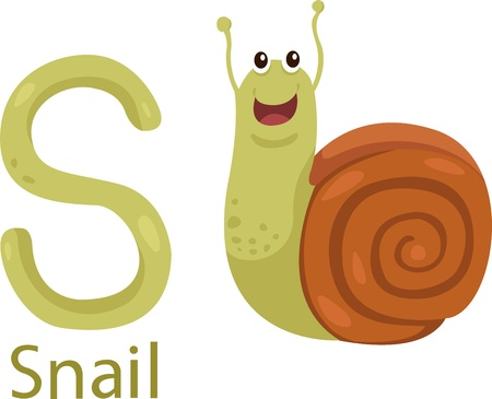 all caps: Illustrator of S with snail