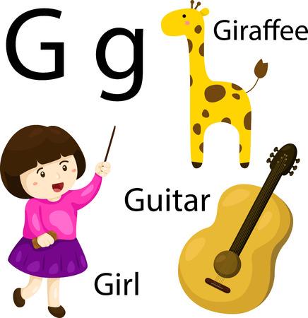 g giraffe: Illustrator of G alphabet