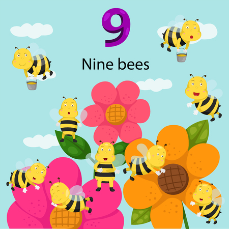 number nine: Illustrator of number nine bees