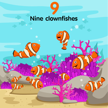 clown fish: Illustrator of number with nine clown fish