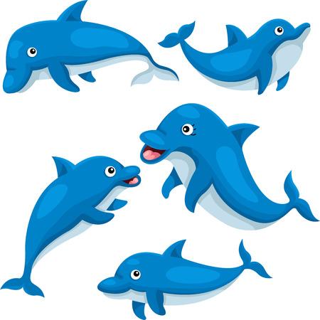 귀여운 돌고래의 일러스트 레이터