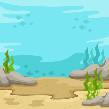 Illustrator of background underwater on the sea Ilustracja