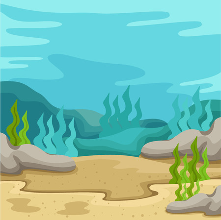 Illustrator of background underwater on the sea two Vettoriali