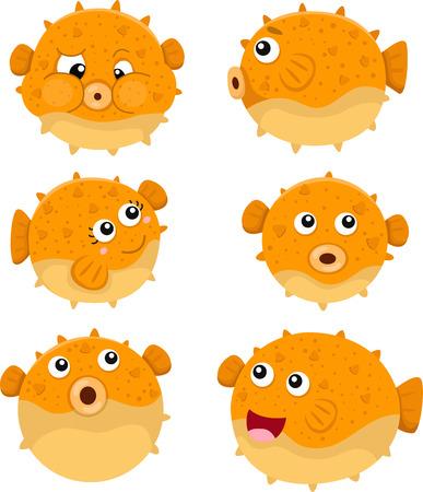 Illustrator of puffer fish Vector