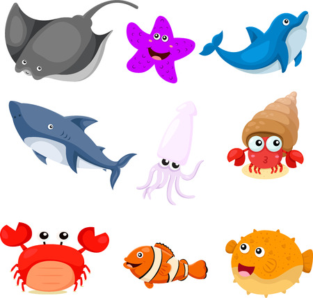 Illustrator of sea animals set Vector